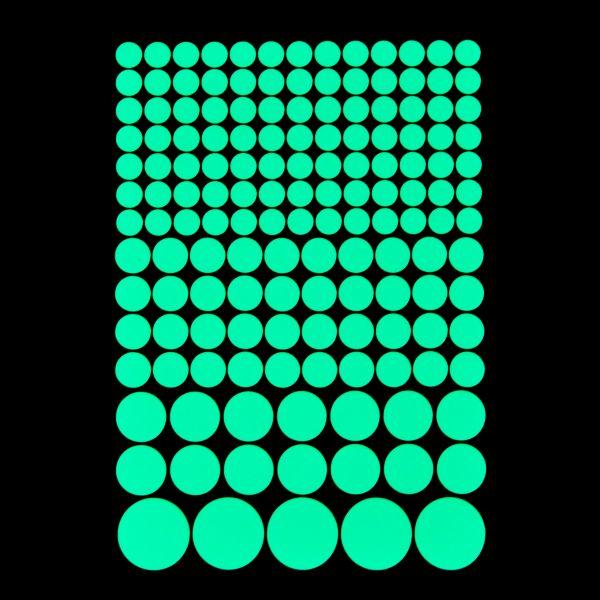 """Premium Leuchtaufkleber - Motiv """"Punkte"""" (124 Stück, versch. Größen)"""