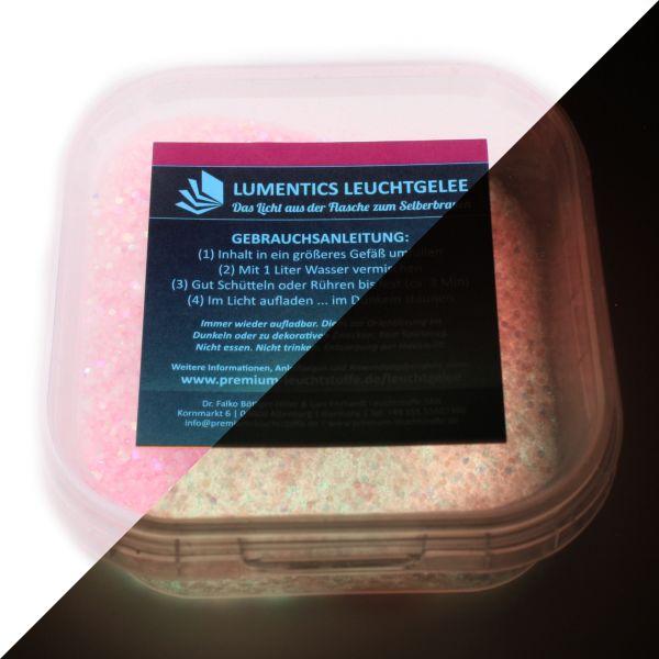 Lichtspeicher-Glitter-Granulat Rosa/GelbGrün - Nachleuchtender Wasserspeicher mit Glitzereffekt