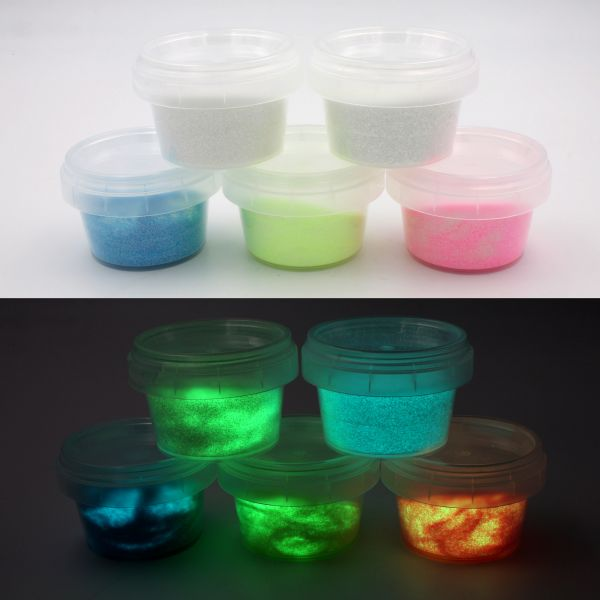 Set glow glitter with UV lamp - 5x glow in the dark color powder