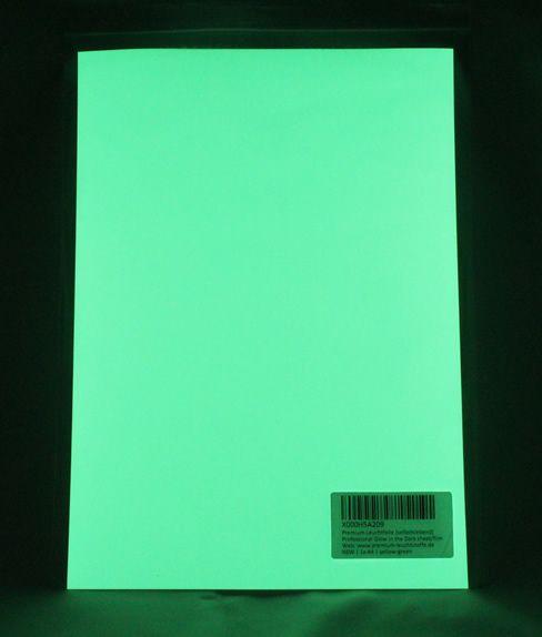 A4 Premium Leuchtfolie Gelb-Grün - Selbstleuchtende Farbfolie, Selbstklebendes Profi Leuchtpapier